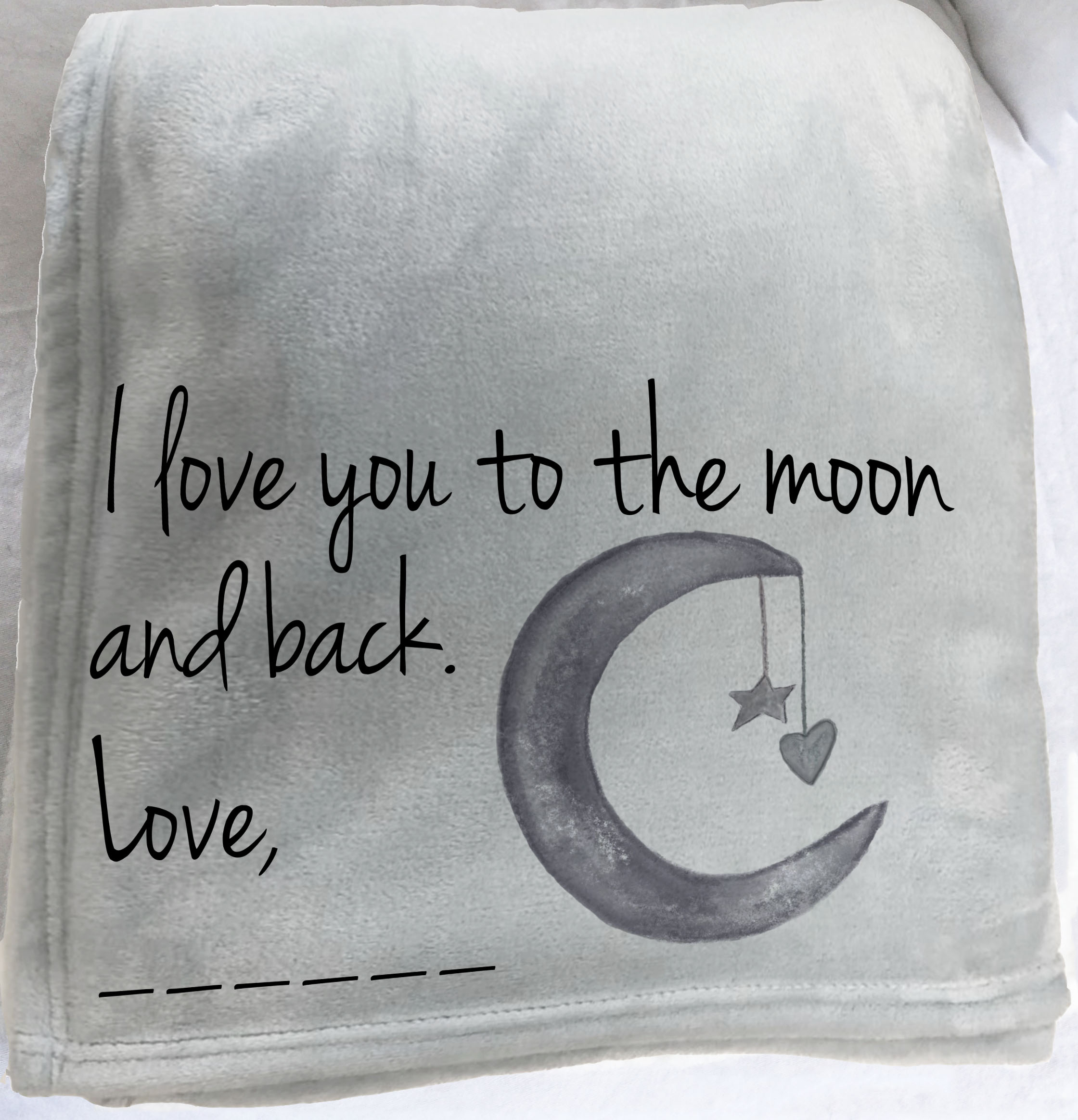 Personalized Custom Throw Blanket I Love You To The Moon And Back Fleece Blanket Hug Blanket Blanket With Words Moon And Stars Photo B