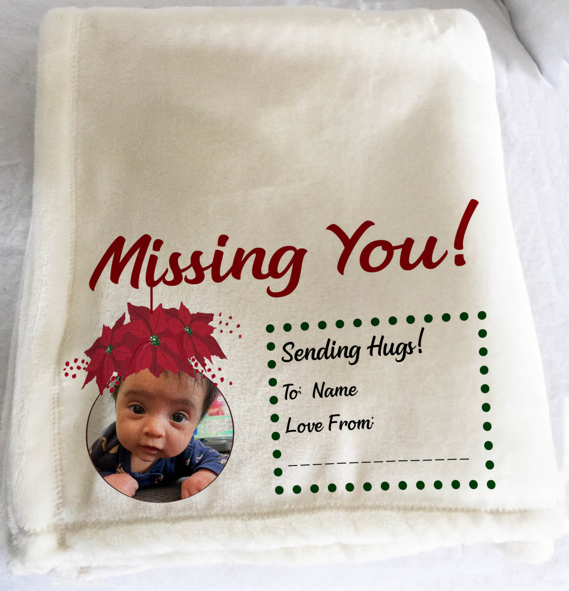 Personalized Throw Blanket, Personalized Christmas Gift, Blanket With Photo, Missing You, Sending Hugs, Christmas Gift For Her, Christmas Gift For Him