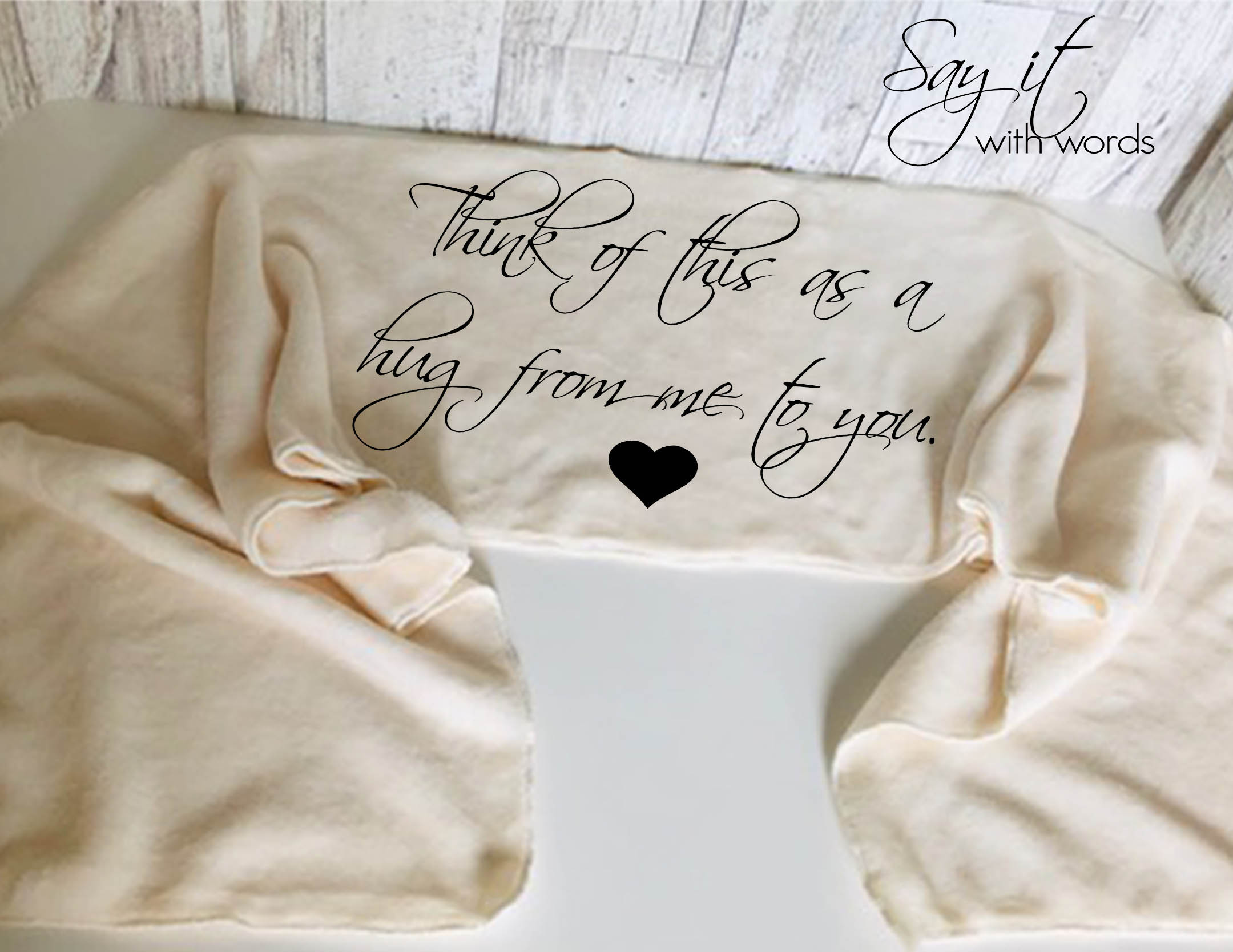 Personalized Fleece Scarf with Words, Think of This as  a Hug from Me to You