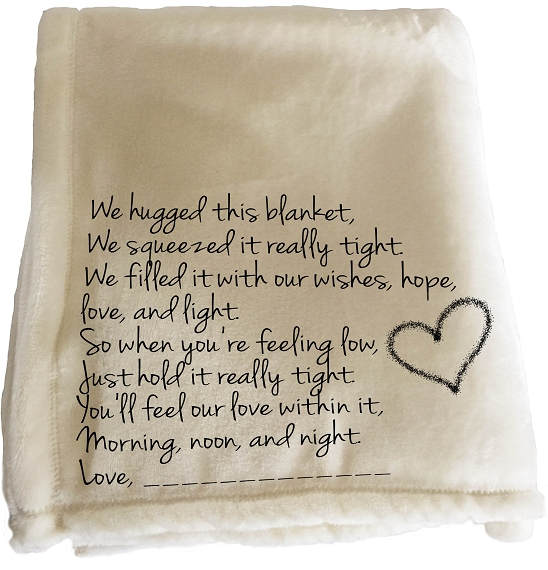 Personalized throw blanket for Christmas.  A message of love for Grandma, Grandpa, Mom, Dad or friend on a personalized throw blanket, we hugged this blanket tight