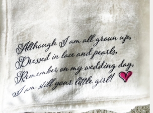 Personalized Custom Throw Blanket for Parents of the Bride, wedding gift to parents