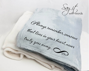 Personalized Memorial Throw Blanket Gift remembering the one who has passed.