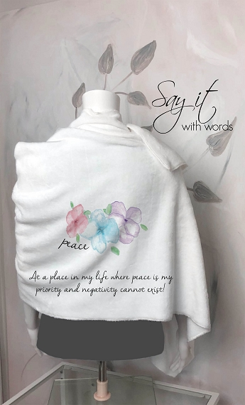 Blanket Scarf Personalized for Grandma or Mom.  The perfect wrap of for someone where peace is their priority
