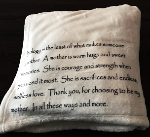 Personalized Custom Throw Blanket for your Step-Mom, Adopted Mom, or someone who has been like a Mom to you.