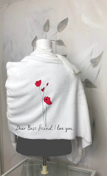 A custom blanket scarf for your best friend!  A beautiful personalized gift for your best friend - wrap her in love.