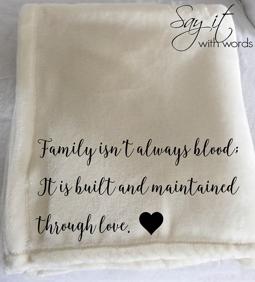 Personalized words throw blanket for someone that is just like family!  Personalized with their name!