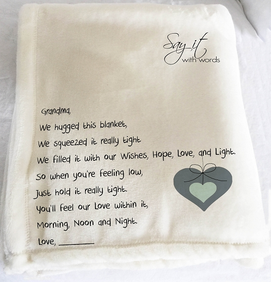 Personalized throw blanket for Christmas.  A message of love on a personalized throw blanket for Grandma with a heart.