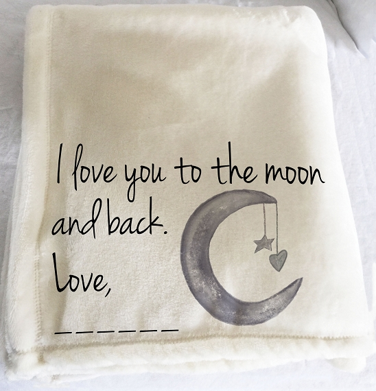 Personalized custom throw blanket, I love you to the moon and back, fleece blanket, hug blanket, blanket with words, moon and stars, photo blanket