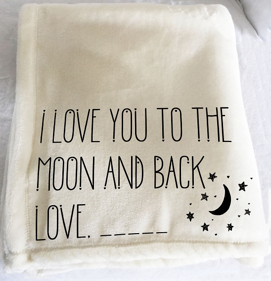 Personalized custom throw blanket, I love you to the moon and back, cozy throw, hug blanket, blanket with words, moon and stars, add photo