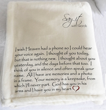Personalized Memorial Throw Blanket Gift remembering the one who has passed. I wish Heaven had a phone.