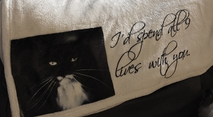 Personalized Custom Throw Blanket for the Cat Lover, or someone who has lost their cat.  Photograph can be added, along with the pet's name.