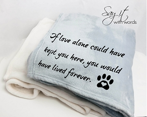 Personalized Custom Throw Blanket for someone who has lost their pet.  Photograph can be added, along with the pet's name.
