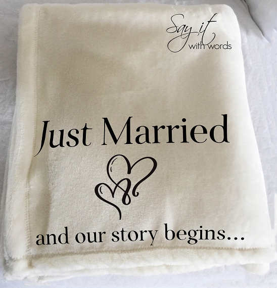 Personalized Throw Blanket for Wedding Gift, Just Married