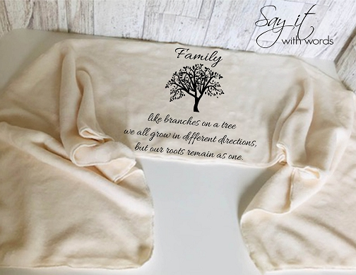 Personalized Fleece Scarf with Words for a family member, a message about family