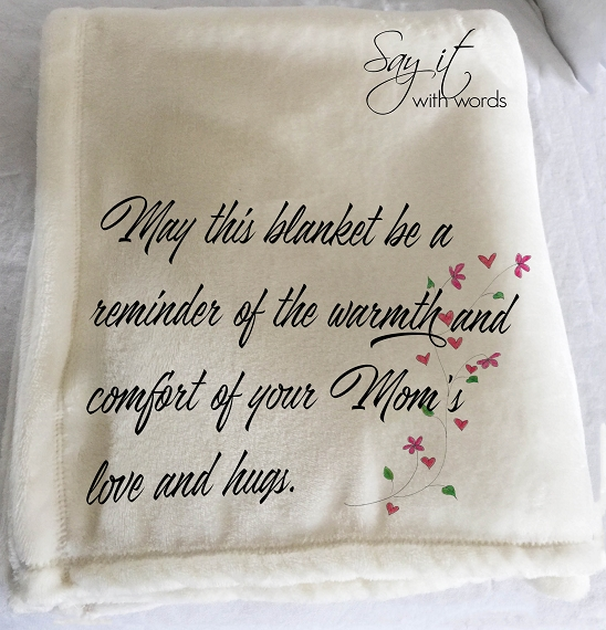 Personalized Memorial Throw Blanket for a loved one as a reminder of Mom's love and hugs.