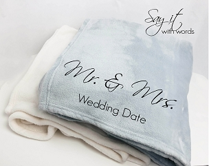 Personalized custom throw blanket for newlyweds, Mr. and Mrs., wedding gift.
