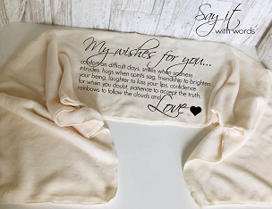 Personalized Fleece Scarf with Your Words, My Wishes For You.