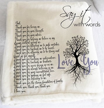 Personalized Custom Throw Blanket for Dad from Son or Daughter, thanking Dad, Father's Day Gift, or personalized birthday gift for Dad.