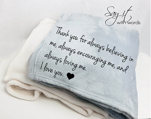 Personalized Custom Throw Blanket for someone who encourages, believes in you and loves you!  Personalized name blanket!