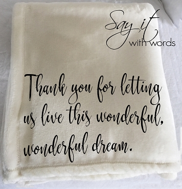 Personalized throw blanket, a gift of thanks for a hostess, vacation thank you gift.