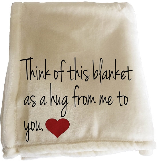 Personalized Throw Blanket that can be customized for someone you want to send a hug to.