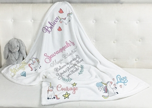 Personalized Magical Powers Unicorn Blanket for girls needing special comfort, inspiration, belief in themselves and hope...