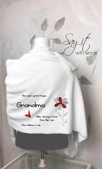 Blanket Scarf Personalized for Grandma or Mom.  The perfect wrap of gratitude from your kids.