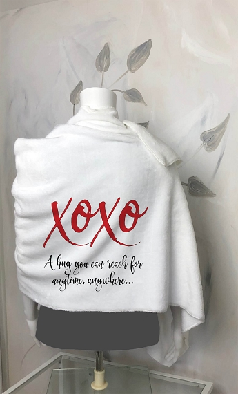 A personalized blanket scarf for the one you love, a custom Valentine's Day Gift for her.