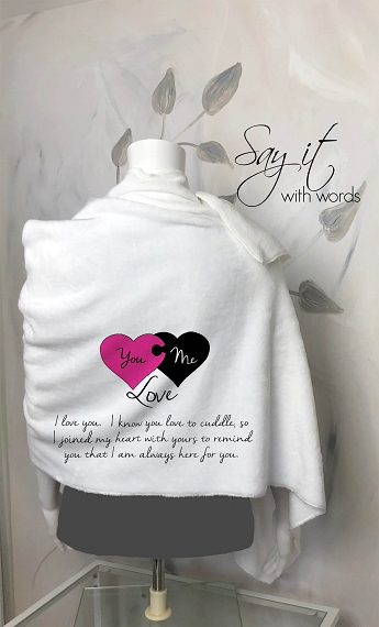 Personalized Blanket Scarf, the perfect cozy wrap for your girlfriend or wife. You & Me Love