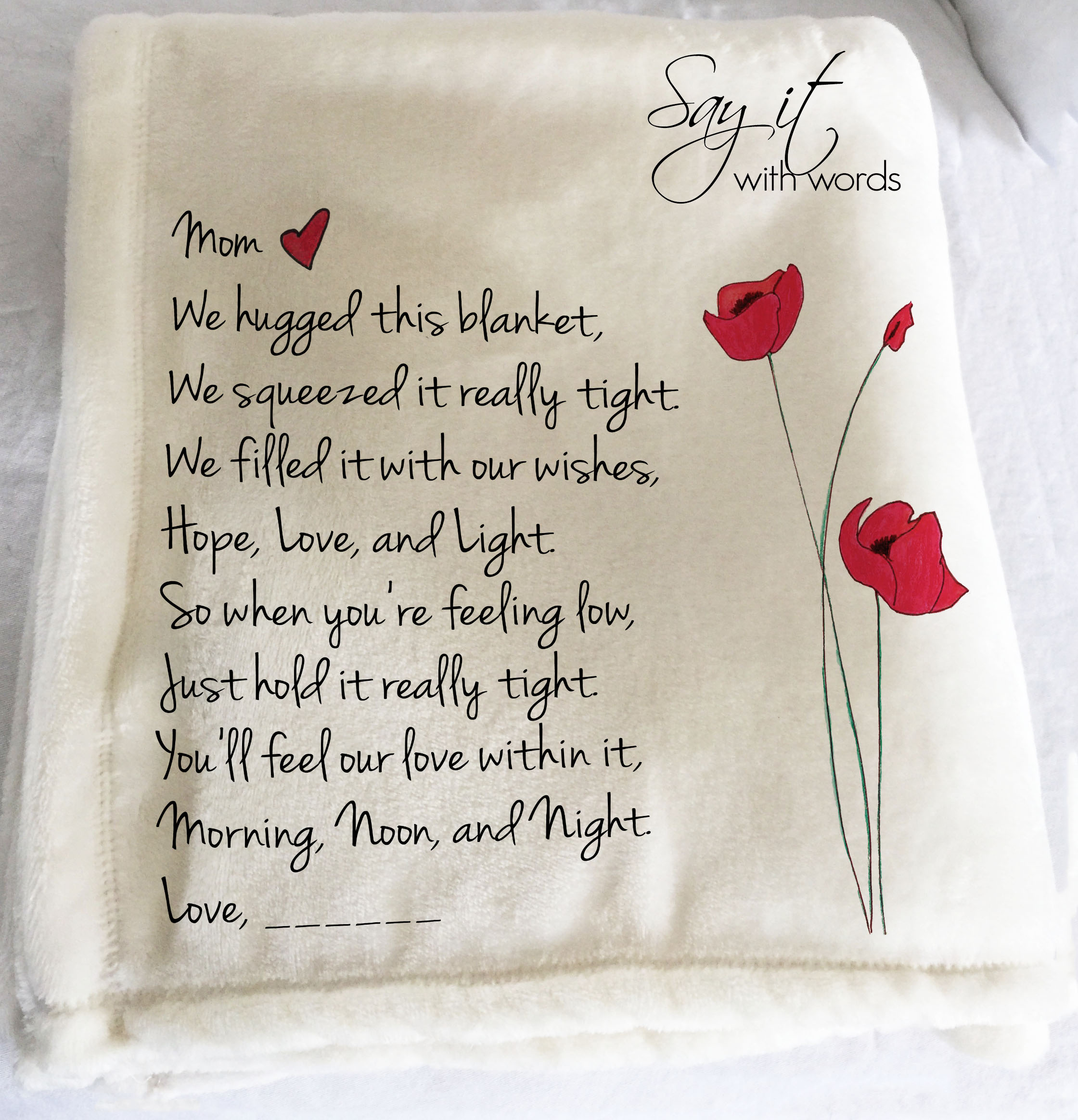 We hugged this blanket tight, personalized throw blanket, Mother's Day gift, personalized gift for Mom, red hand drawn poppies, personalized gift